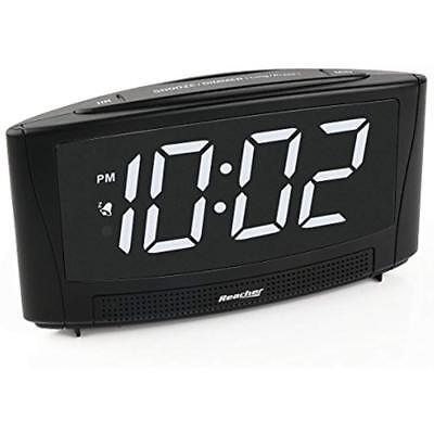 "ReacherDigitalAlarmClock Alarm Clocks With USB Charger Port 6""Large Electric LED"