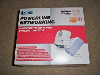 New Sealed Aztech Poweline Networking Homeplug Turbo 85 Mbps Ethernet Adapter