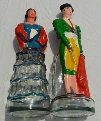 1950's Dalmau Hermanos Hand-Painted Figural Spanish Wine Bottles - Matador/Woman