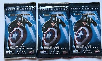Captain America Upper Deck Marvel Movie Trading Cards 3 Pack Lot