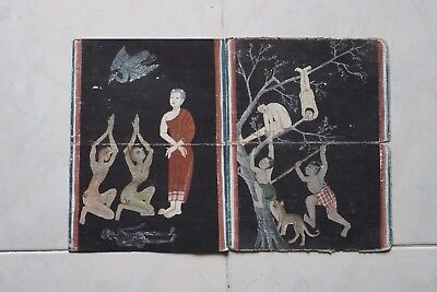 Set Antique Thailand Manuscript Painting from the 19th Century on book  b1