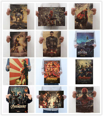 Avengers 2 Vintage Iron Man Hulk Thor Black Widow Kraft Paper Poster Decor Print