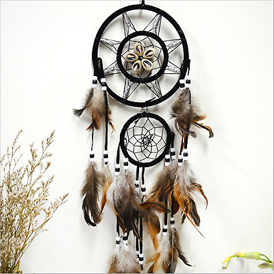 Brown Dream Catcher W/ feathers Wall Hanging Decoration Decor Ornament Gift USA