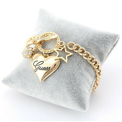 Women Love Heart Star Pendant Diamond Ball Bracelet Crystal Cuff Bangle Jewelry