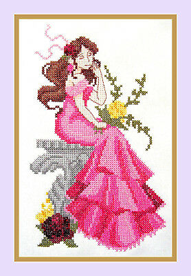 "Completed Cross Stitch ""lady In Pink Dress""lady 25Cm X 14Cm - Frame Not Included"