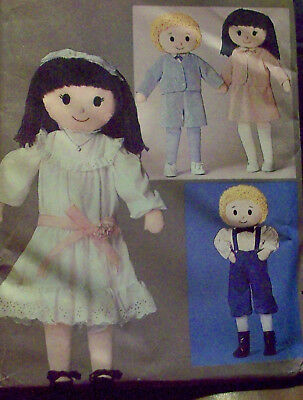 Girl and Boy Stuffed dolls with face transfers & clothing, uncut sewing pattern