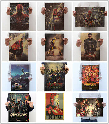 Avengers Infinity War Thor Iron Man Black Panther Spiderman Kraft Paper Posters