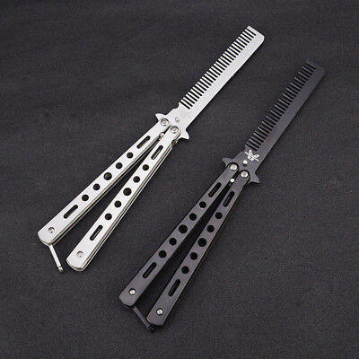 Professional Stainless Steel Butterfly Balisong Comb Trainer Training Knife Tool