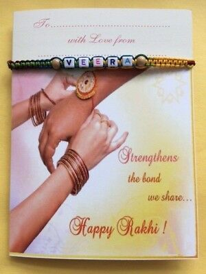 PERSONALISED Rakhi / Bracelet With Card and Envelop PC