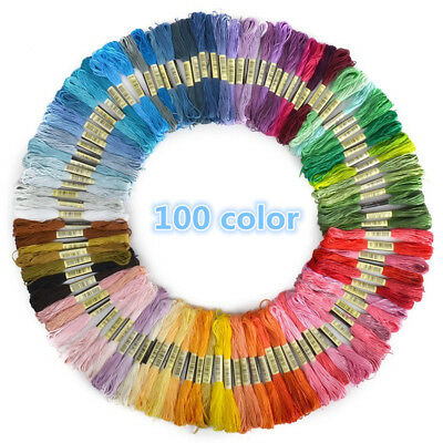 100x Cotton Mix Skeins Colour Embroidery Thread Cross Braiding Craft Sewing Kit