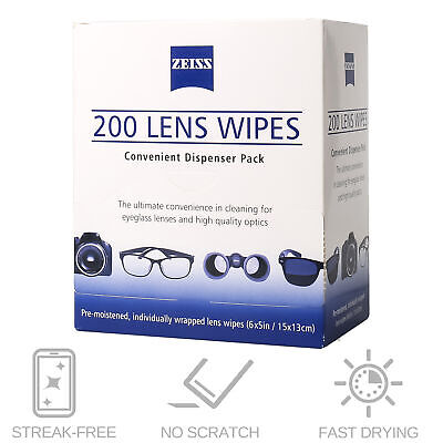 200CT ZEISS Lens Cleaning Wipes Eye Glasses Screen Optical Camera Phone Cleaner