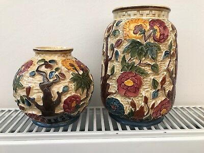 Staffordshire Indian Tree vases by HJ Wood