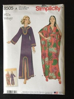 Simplicity 8505 Sewing Pattern Vintage 1970's Caftans Sizes S-L