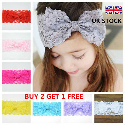 Baby Girls Headband Soft Lace Bow Elastic Hairband Kids Hair Accessories UK