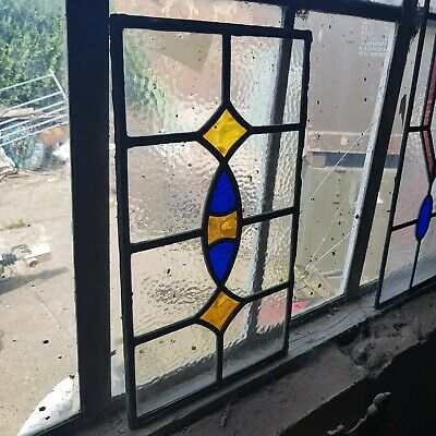Victorian style stained Glass Royal Blue & Amber two Diamonds 1 ellipse Panel