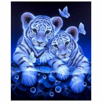 5D DIY Tiger & Butterfly Magic Circle Diamond Painting Living Room Bedroom T9D2