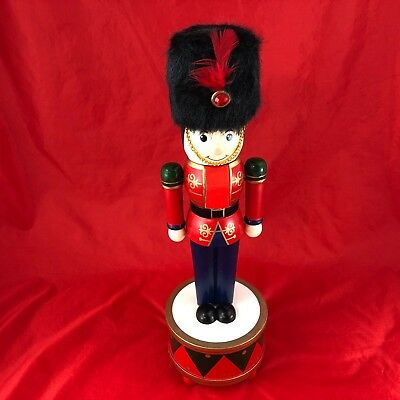 """14""""  Nutcracker Wooden Toy Soldier Music Box """"Wish You  A Merry Christmas"""""""