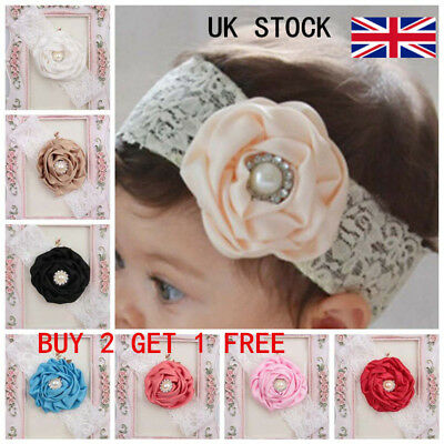 Baby Girls Flower Bow Headband Soft Lace Elastic Hairband Hair Accessories