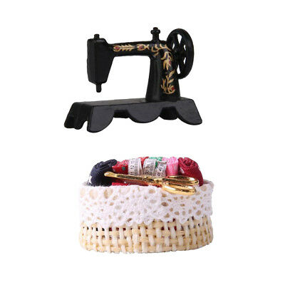 1:12 Scale Dollhouse Miniature Decor Black Metal Sewing Machine with Basket