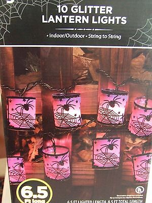 Halloween Glitter Lantern Lights w/ Spiders & Webbs 10 Total 6.5ft. Lighted L""