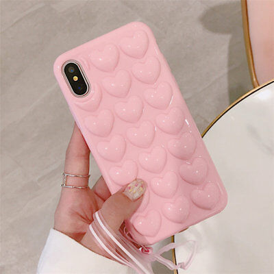 For iPhone 6 7 8 Plus XS Max 3D Heart Soft Silicone Shockproof Bumper Case Cover
