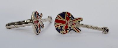 Noel Gallagher Oasis Union Jack Epiphone Guitar Quality Enamel Cufflinks