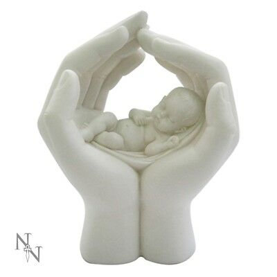 Large Shelter Newborn Cherub in hands Figurine Statue Decor Moulds Gift 17,5 cm