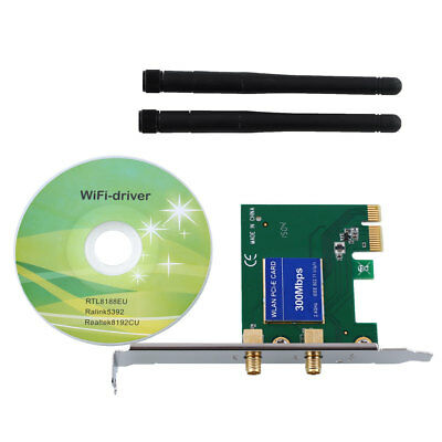 New Wireless Wifi 300Mbps 802.11B/G/N 2 Antenna PCI Series Adapter Card