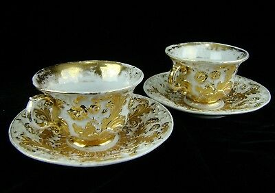 Pair Meissen Gold Gilt Relief Molded Rococo Set of 2 Cups Saucers 1860-1924