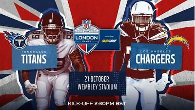 NFL: Tennessee Titans vs Los Angeles Chargers Wembley Stadium London 2 Tickets!