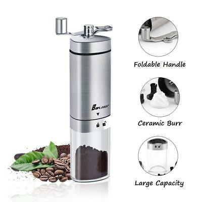 Manual Coffee Grinder, Coffee Mill with Conical Burr, Brushed Stainless Steels
