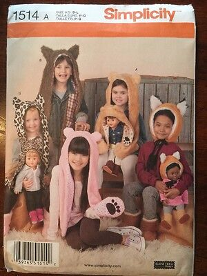 """Simplicity Sewing Pattern 1514 Childs and 18"""" Doll Matching Animal Hats S-L"""