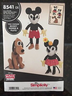 Simplicity 8541 Sewing Pattern Vintage Disney Stuffed Mickey Minnie Mouse Pluto
