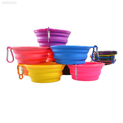 Foldable Collapsible Silicone Pet Cat Feeding Water Food Bowl Cup with Carabiner