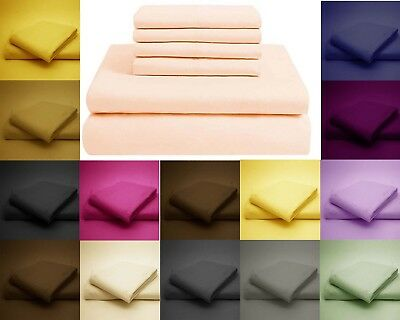 Polycotton Fitted Sheet Pillow Case Cover - Single, Double, King, Superking