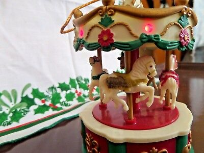 Christmas Carousel Musical Horse Rotating Lights up Ornament.