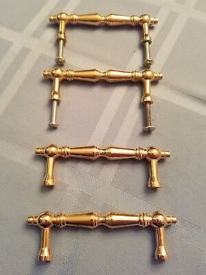 "Polished Solid Brass Handle 3"" Cc  Lot Of 4"