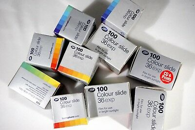 10 boxes of expired 35mm 100 ASA Boots Colour Slide Film for E6 processing