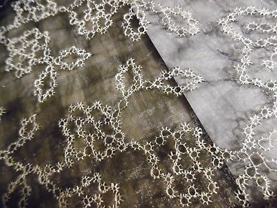 """VINTAGE SILK BLEND EMBROIDERED ORGANZA~WHITE ON BLACK~12""""x56""""~DOLL's~TATTED LACE"""