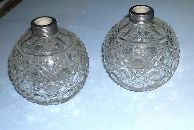 two amazing cut glass perfume bottles missing silver tops Antique vintage retro