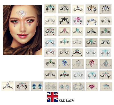 ADHESIVE FACE GEMS Glitter Jewel Tattoo Sticker Festival Rave Party Body Make Up