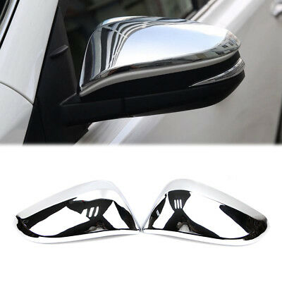 Plate Chrome Cover Trim Set-Side Rearview Mirror j For Toyota Highlander 2014-19