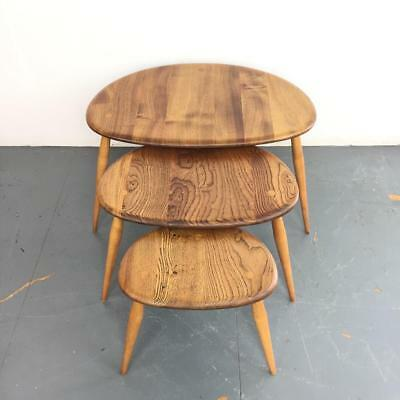 ERCOL NEST BLONDE PEBBLE TABLES COFFEE OCCASIONAL VINTAGE MIDCENTURY 60s #2424