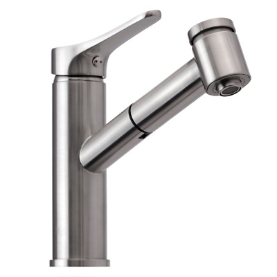 Kitchen/Bathroom Faucet Brushed Nickel Single Handle Pull Out Sprayer Escutcheon