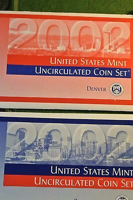 2002 P & D US Mint Uncirculated Coin Set  20 Coins With COA