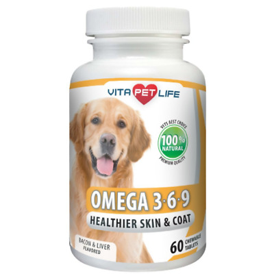 Omega 3 for Dogs, Fish Oil, Flaxseed Oil, Antioxidant, DHA EPA Fatty Acids