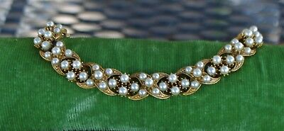 Beautiful Vintage Florenza Pearl And Gold Bracelet  Free Ship * Sale New Price