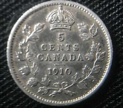 Semi-Rare Canada 1910 5 Cents Pointed Leaves