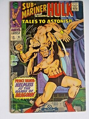 Tales To Astonish #94 1967 Silver Age Marvel Comics Sub-Mariner Hulk
