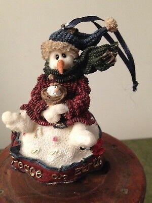 Boyds 1998 Resin Snowman Christmas Ornament Robin...peace On Earth 1St Edition